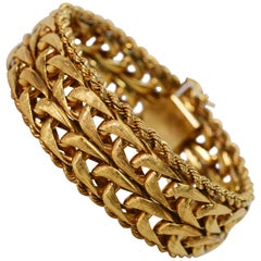 Satin Gold Interlocking Link Bracelet with Braided Trim