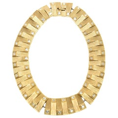 Satin Gold Plated Metal with Rhinstone Reticulated Collar Necklace Vintage