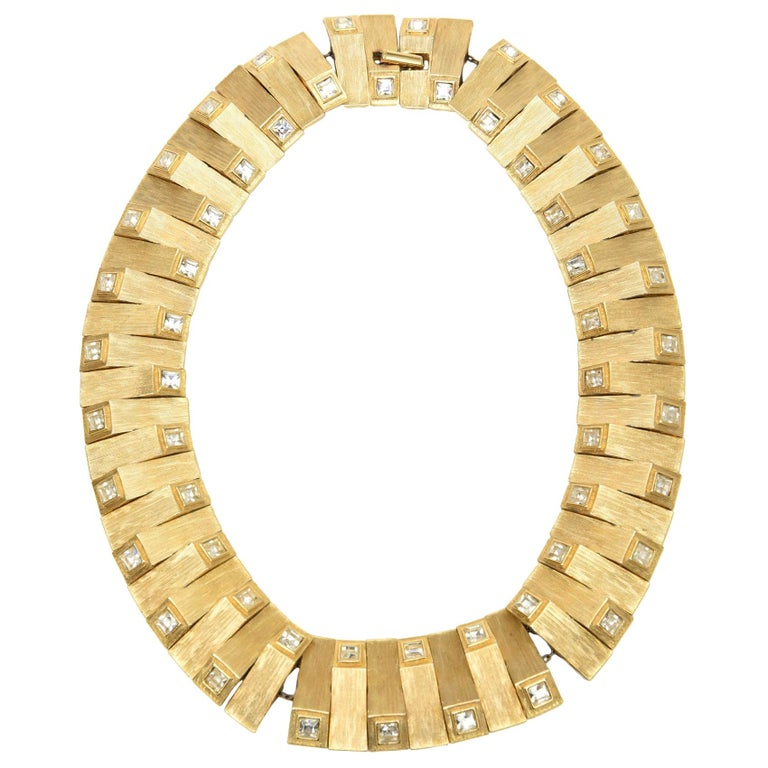 Satin Gold Plated Metal with Rhinstone Reticulated Collar Necklace Vintage For Sale