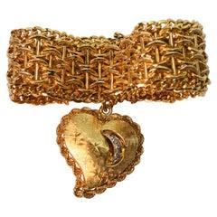 Satin Gold Retro Bracelet w Large Diamond Accented Gold Heart Charm
