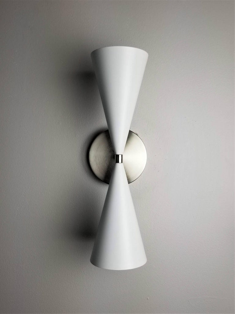 Mid-Century Modern Satin Nickel + White Enamel 'Tuxedo' Wall Sconce by Blueprint Lighting NYC For Sale