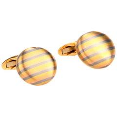 Satin Striped 18 Karat Yellow Gold Button Men's Cufflinks