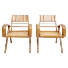 Satin Wood & Cane Vintage Satin Wood Armchair 1960s