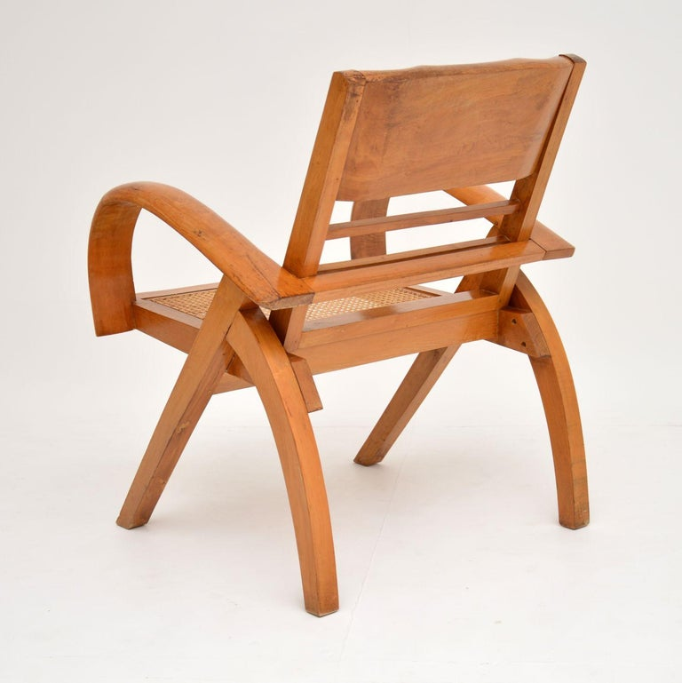 Satin Wood and Cane Vintage Satin Wood Armchair For Sale 5