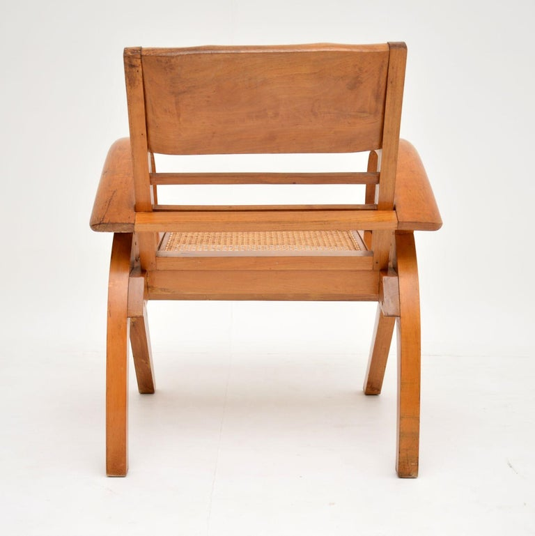 Satin Wood and Cane Vintage Satin Wood Armchair For Sale 6