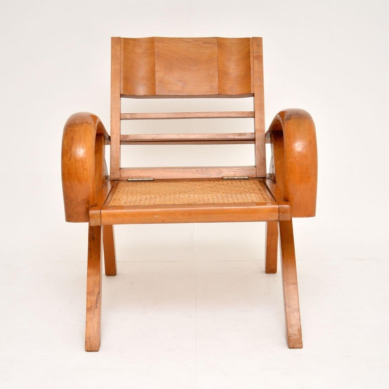 Mid-Century Modern Satin Wood and Cane Vintage Satin Wood Armchair For Sale