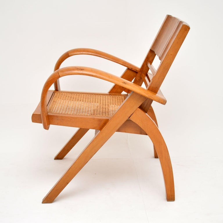 French Satin Wood and Cane Vintage Satin Wood Armchair For Sale