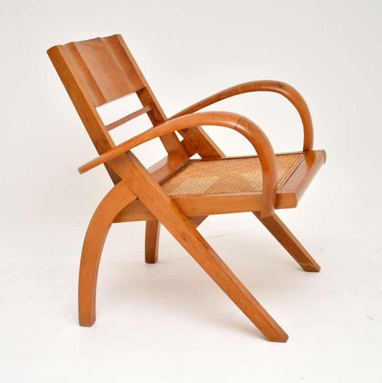 Satin Wood and Cane Vintage Satin Wood Armchair In Good Condition For Sale In London, GB