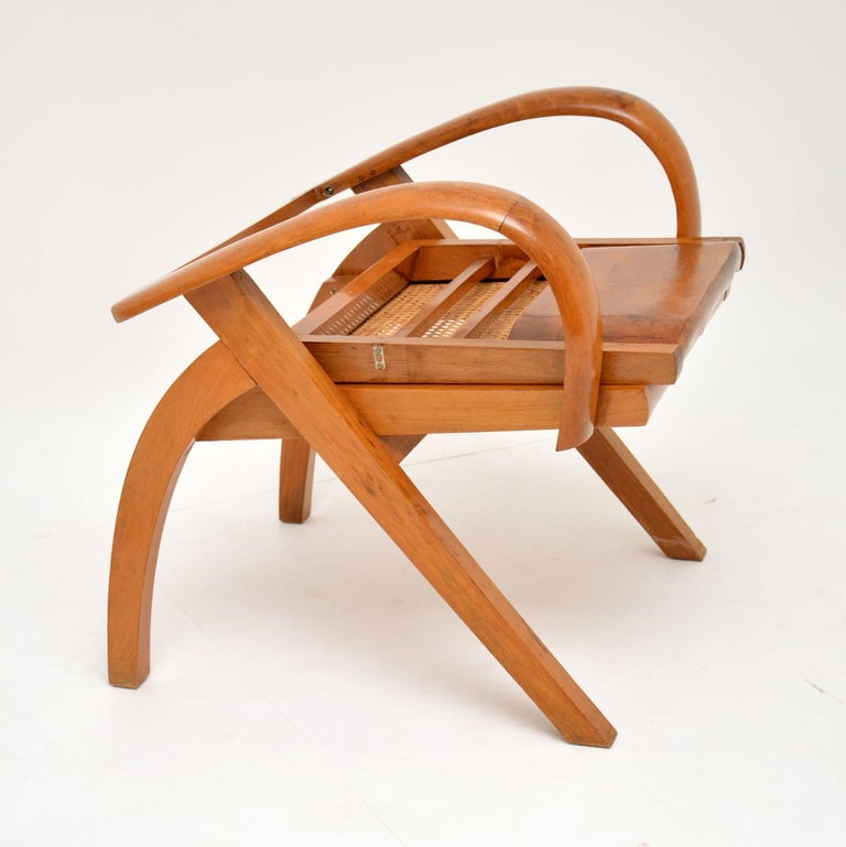 20th Century Satin Wood and Cane Vintage Satin Wood Armchair For Sale