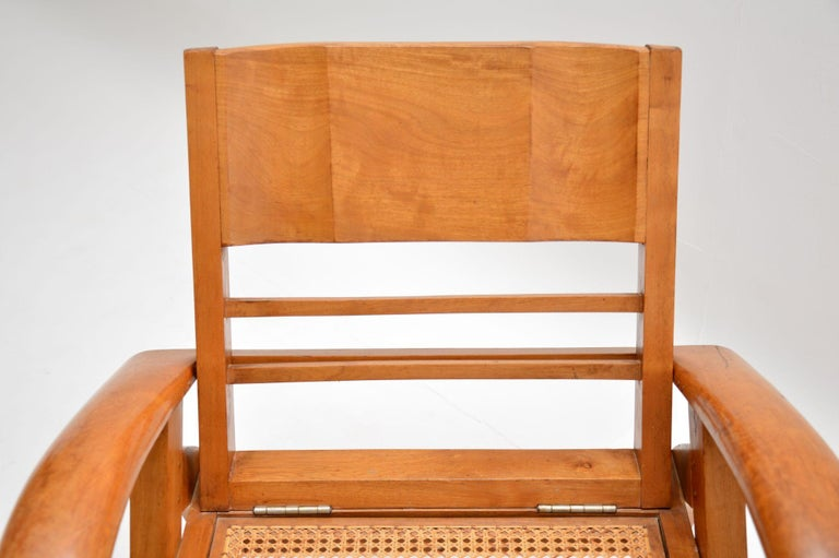 Satin Wood and Cane Vintage Satin Wood Armchair For Sale 1