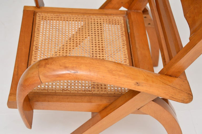 Satin Wood and Cane Vintage Satin Wood Armchair For Sale 3