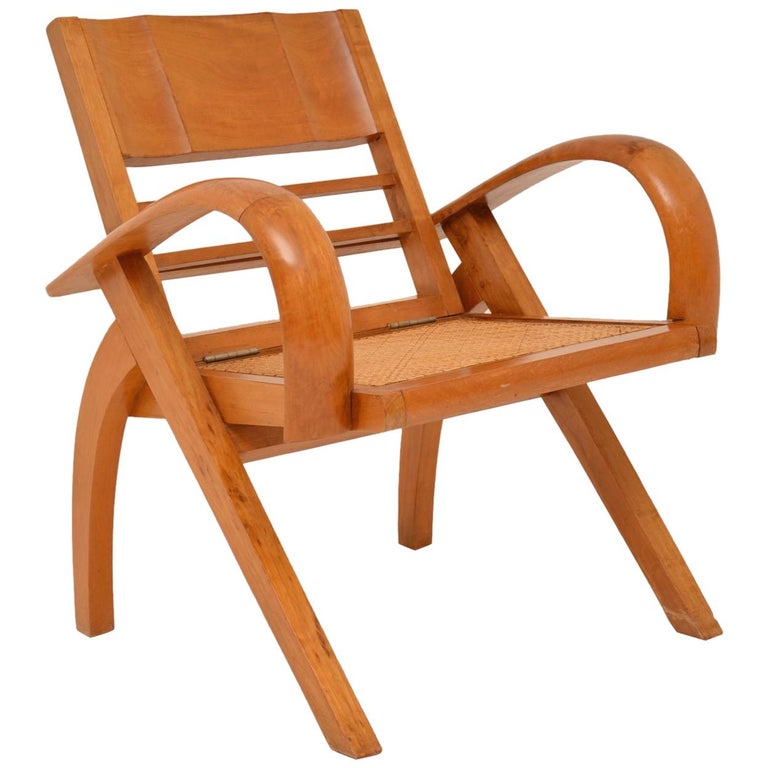 Satin Wood and Cane Vintage Satin Wood Armchair For Sale