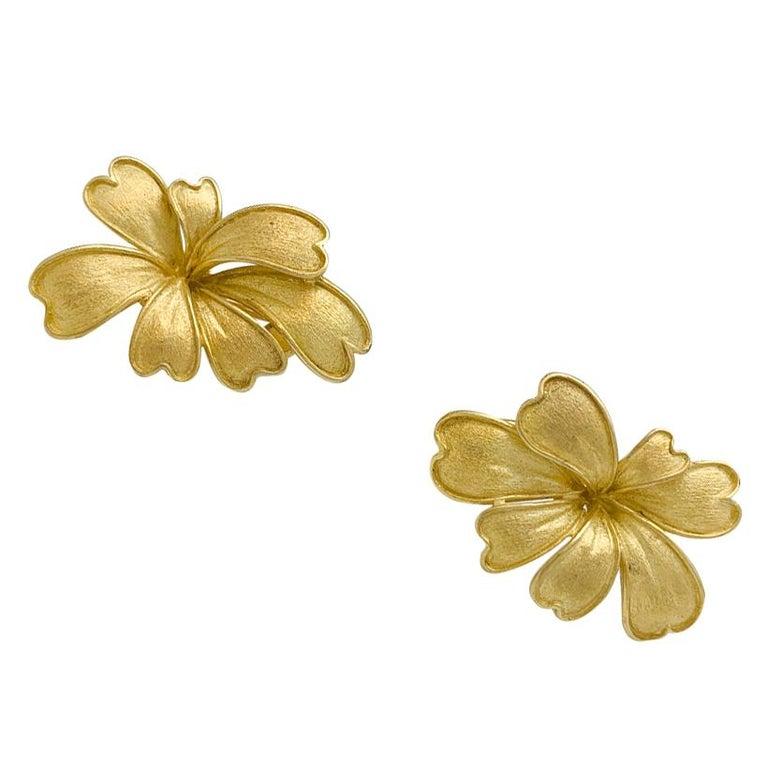 Art Nouveau Satin Yellow Gold Flower Earrings For Sale