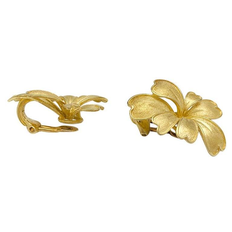 Women's Satin Yellow Gold Flower Earrings For Sale