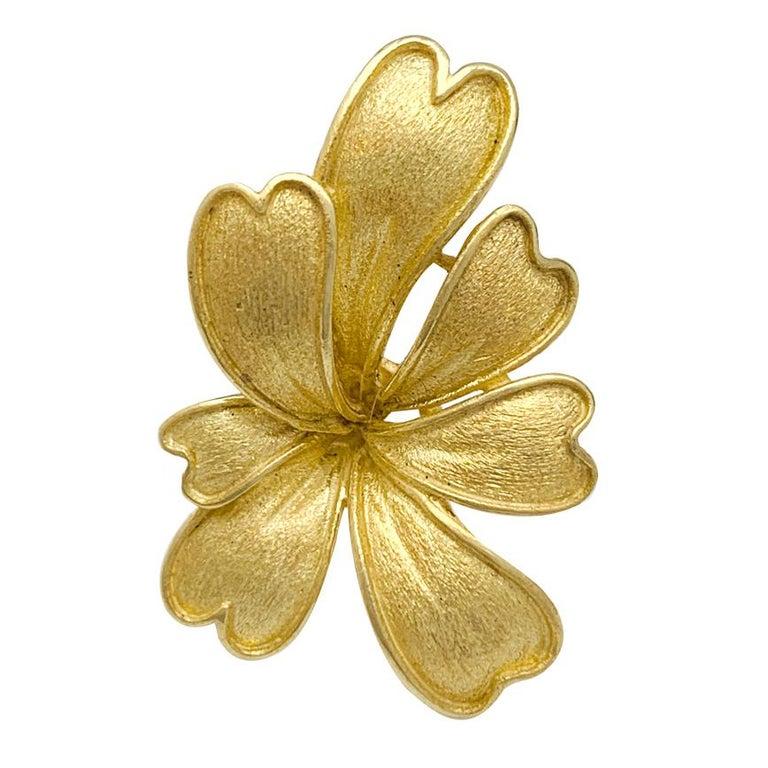 Satin Yellow Gold Flower Earrings For Sale 1