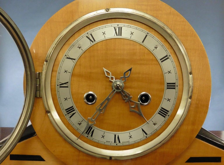 British Satinwood Art Deco Mantel Clock For Sale