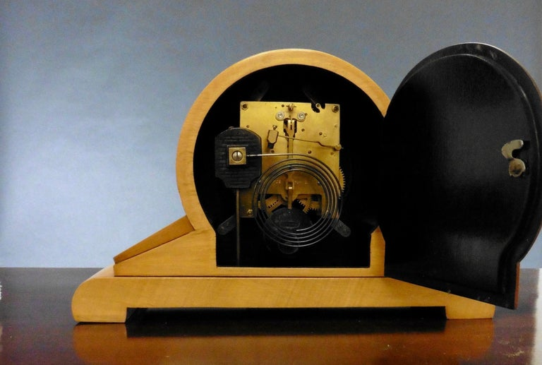 Satinwood Art Deco Mantel Clock For Sale 4