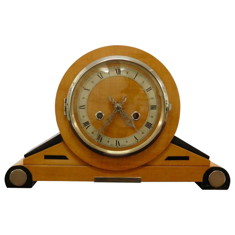 Satinwood Art Deco Mantel Clock For Sale