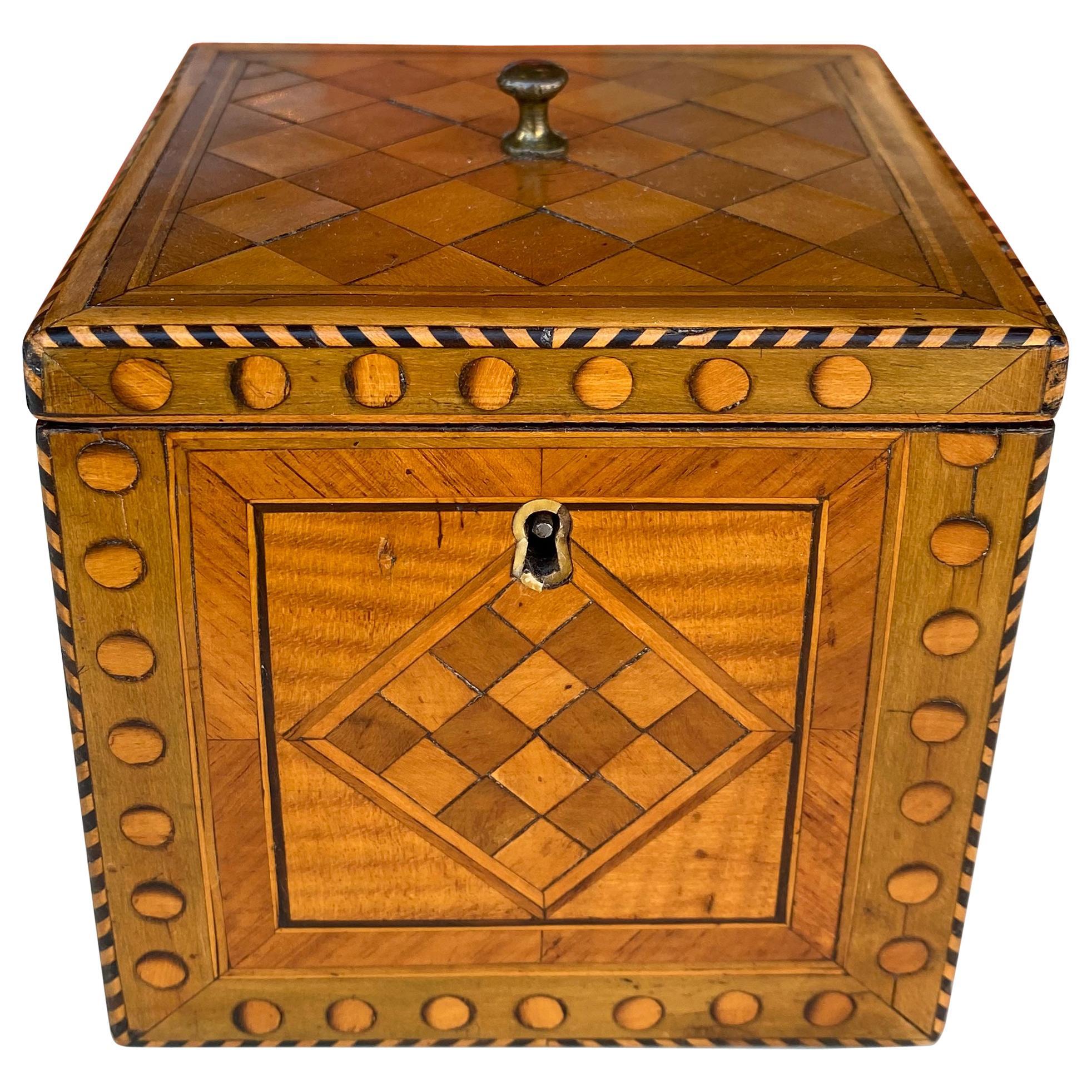 Satinwood inlaid cube tea caddy