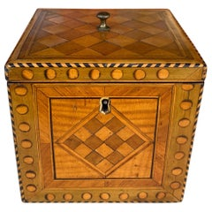 Satinwood inlaid cube tea caddy