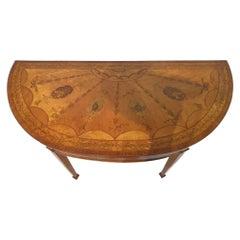 Satinwood Inlaid Demilune Pier Table, circa 1800