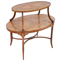 Satinwood Inlaid Two-Tier Side Table, 19th Century