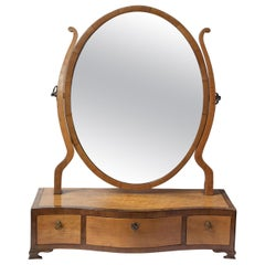 Satinwood Oval Dressing Table Mirror, circa 1800