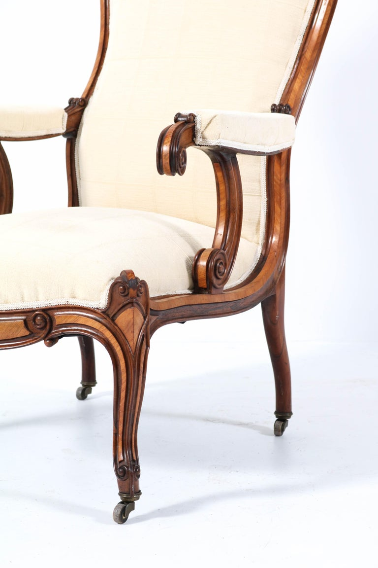 Satinwood Victorian High Back Armchair or Voltaire Chair, 1860s For Sale 5