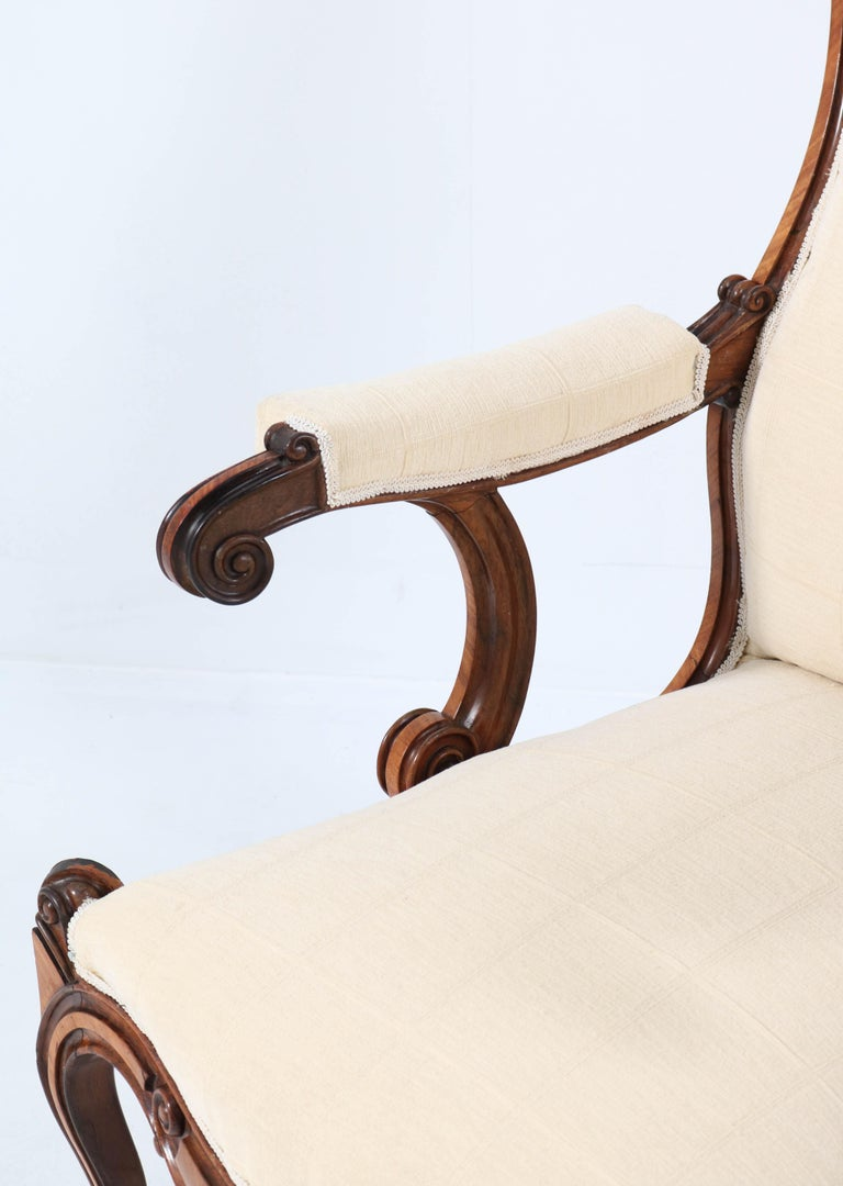 Satinwood Victorian High Back Armchair or Voltaire Chair, 1860s For Sale 6