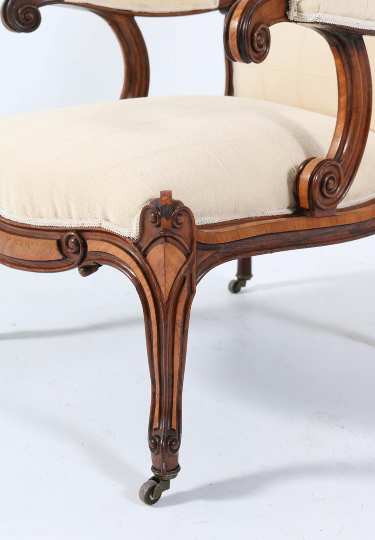 Satinwood Victorian High Back Armchair or Voltaire Chair, 1860s For Sale 8