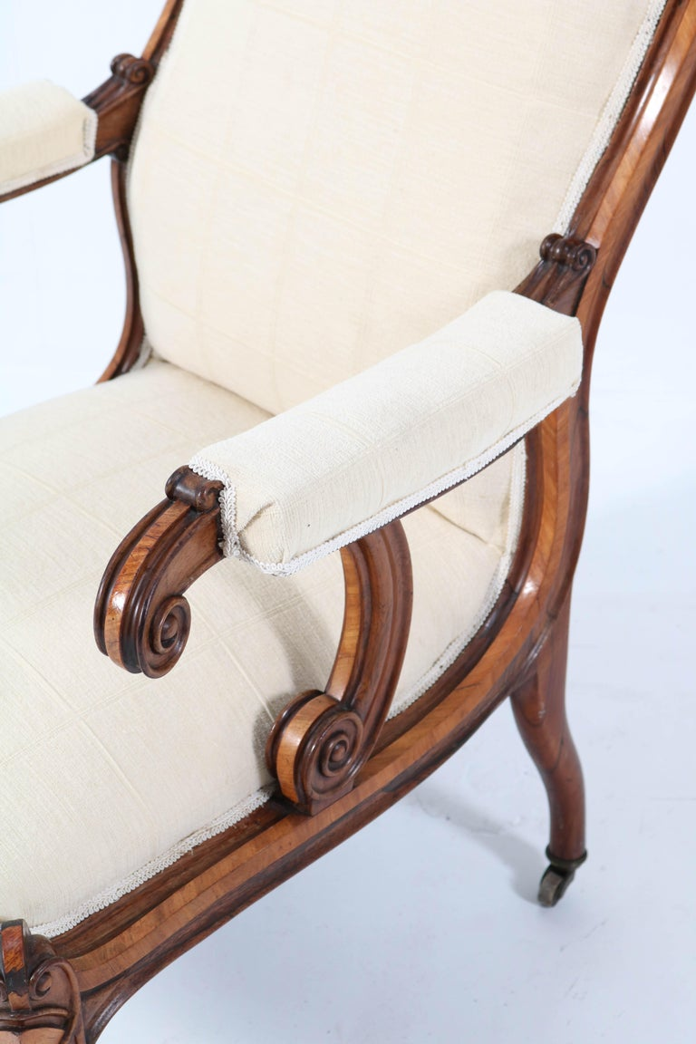 Satinwood Victorian High Back Armchair or Voltaire Chair, 1860s For Sale 9