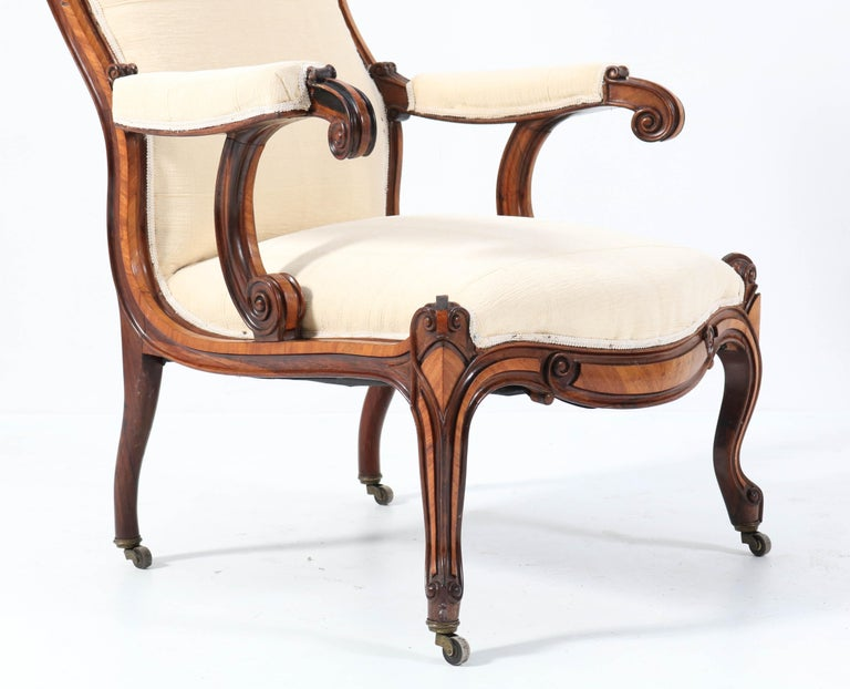 Satinwood Victorian High Back Armchair or Voltaire Chair, 1860s For Sale 10