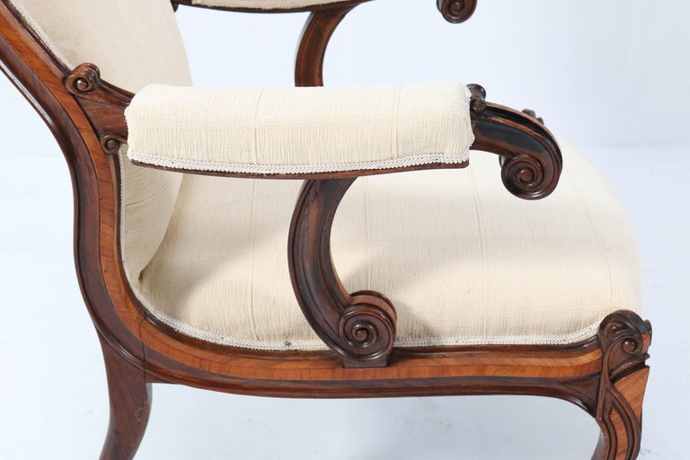 Satinwood Victorian High Back Armchair or Voltaire Chair, 1860s For Sale 11