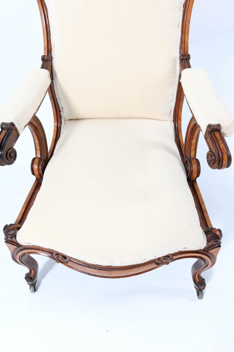 Satinwood Victorian High Back Armchair or Voltaire Chair, 1860s For Sale 12