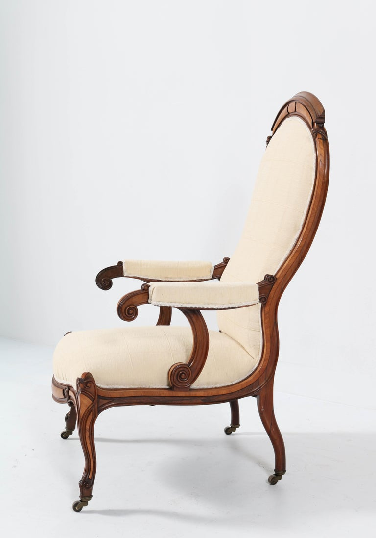 Dutch Satinwood Victorian High Back Armchair or Voltaire Chair, 1860s For Sale