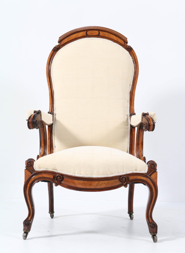 Satinwood Victorian High Back Armchair or Voltaire Chair, 1860s In Good Condition For Sale In Amsterdam, NL