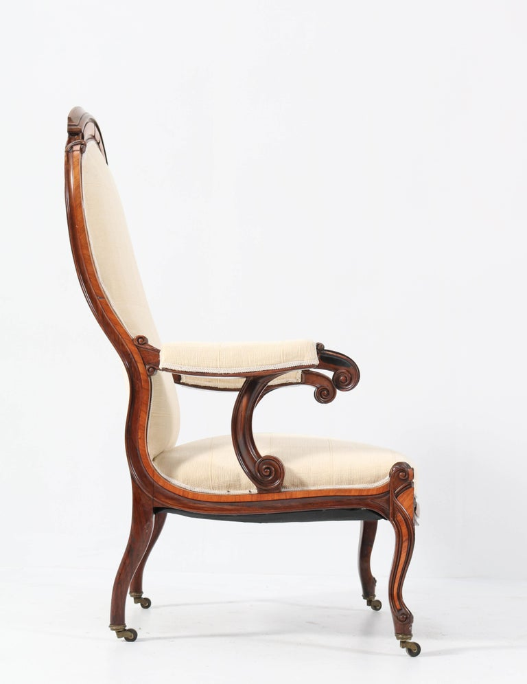 Satinwood Victorian High Back Armchair or Voltaire Chair, 1860s For Sale 2