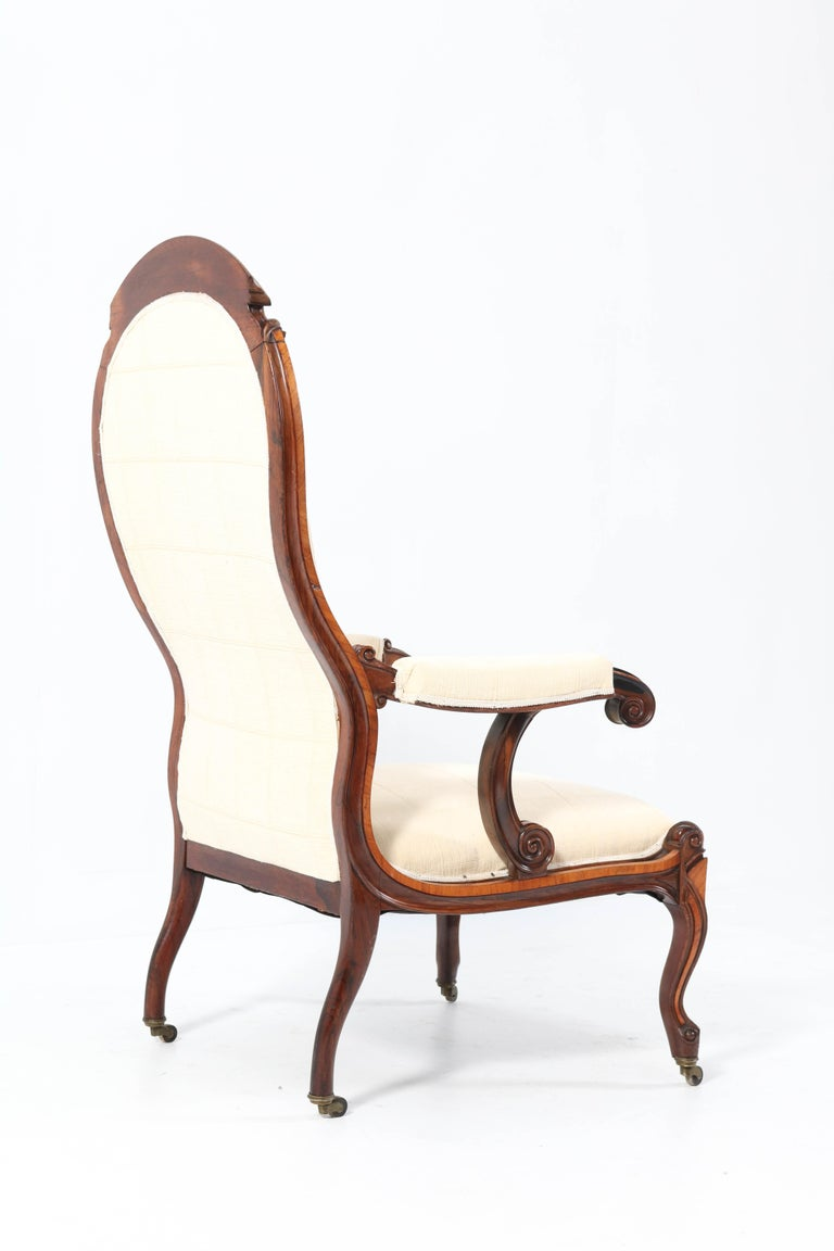 Satinwood Victorian High Back Armchair or Voltaire Chair, 1860s For Sale 3