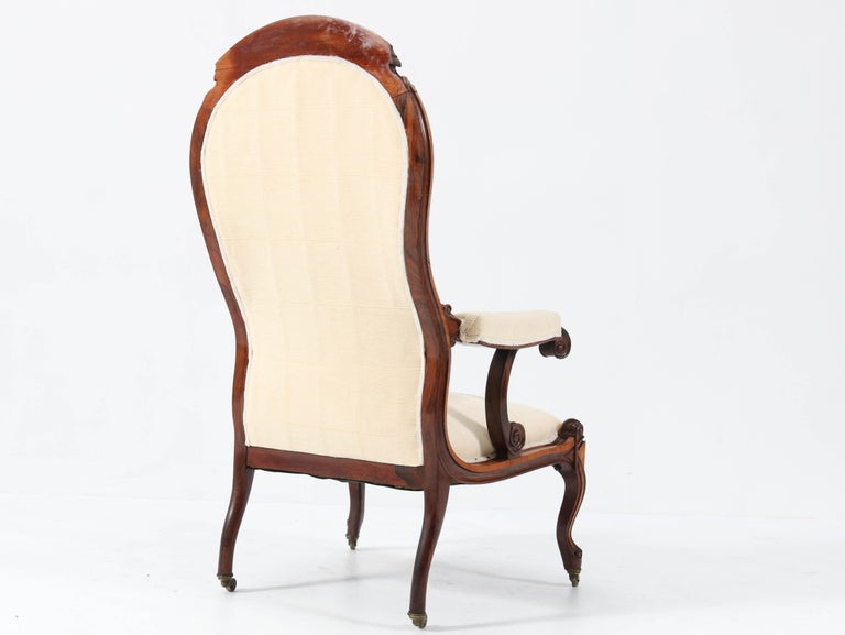 Satinwood Victorian High Back Armchair or Voltaire Chair, 1860s For Sale 4