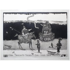 "Satirical Lithograph by Peter Jacques ""Lobengula"" London Artist Royal Academy"