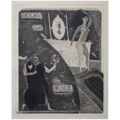 """Satirical Lithograph by Peter Jacques """"The Beast"""" London Artist Royal Academy"""