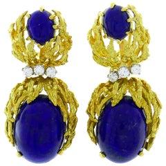 Satsky Lapis Lazuli Diamond Yellow Gold Earrings