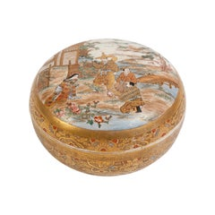 Satsuma Covered Box with Figures, Porcelain, Japan, Late 19th Century