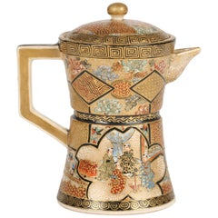 Satsuma Japanese Meiji Miniature Enameled Teapot Kozon Mark