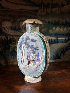 Satsuma Kyoto Vase with Scenic Panels, Pierced Sides, Gosu Blue, circa 1880