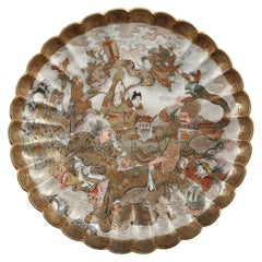 Satsuma Plate Decorated with Animated Characters, Japan