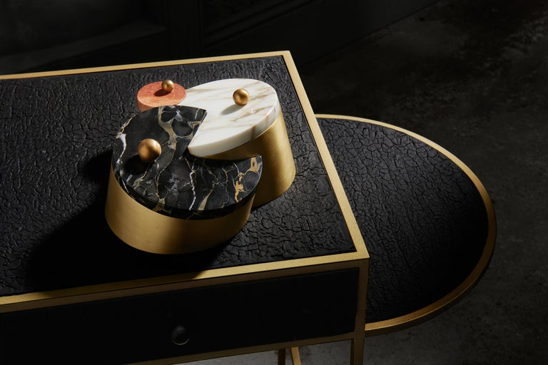 Modern Saturn and Pluto Box, Marble and Brass, by Bohinc Studio For Sale