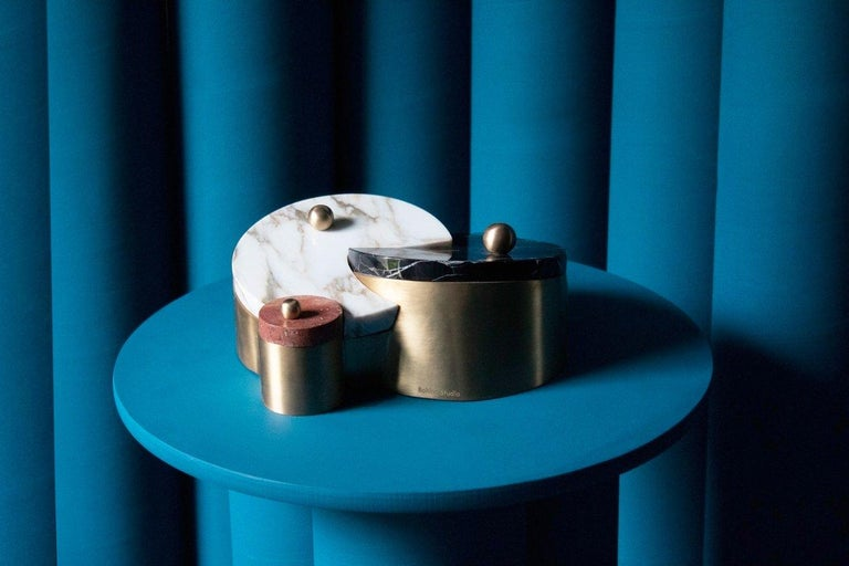 Saturn and Pluto Box, Marble and Brass, by Bohinc Studio In New Condition For Sale In London, GB