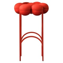Saturn Bar Stool, Red Coated Steel Frame and Red Wool by Lara Bohinc