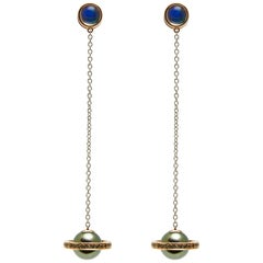 Saturn Chains Stoned, South Sea Pearl, Mexican Opal, Sapphire Drop Earrings